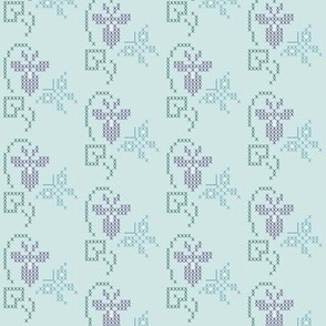 Cross-stitch embroidery pattern - sm border - violet & butterfly
