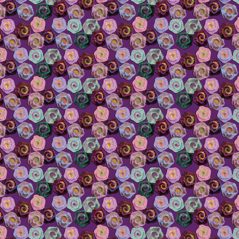 Crocheted Spiral Flowers fabric by nezumiworld on Spoonflower - custom fabric