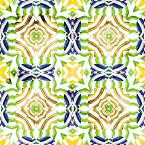 Flowery Incan Mosaics In Watercolors 25