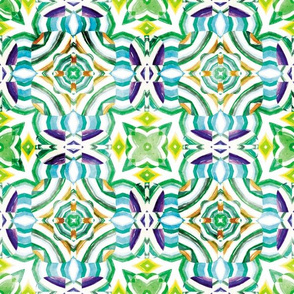 Flowery Incan Mosaics In Watercolors 28