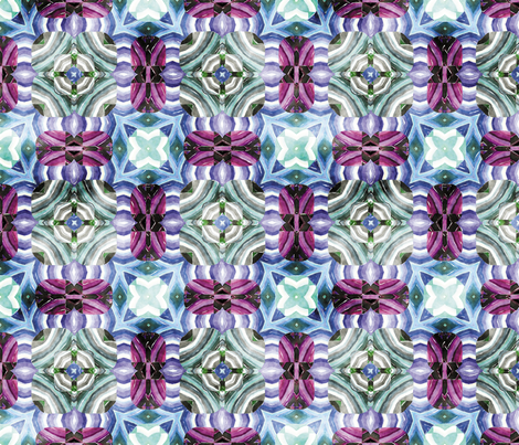 Flowery Incan Mosaics In Watercolors 30 fabric by animotaxis on Spoonflower - custom fabric