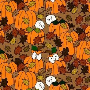 Babies In The Pumpkin Patch With Pumpkins and Stars - Dark Fabric