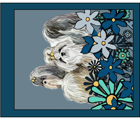 Shih Tzu Garden Flag with Flowers fabric by dogdaze_ on Spoonflower - custom fabric