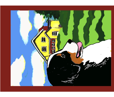 Bernese Mounttain Dog Garden Flag fabric by dogdaze_ on Spoonflower - custom fabric