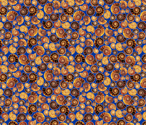 Ammonite Mosaic in Blue fabric by veramarie2 on Spoonflower - custom fabric