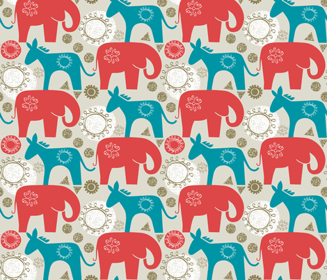 left and right - elephant, donkey fabric by ottomanbrim on Spoonflower - custom fabric