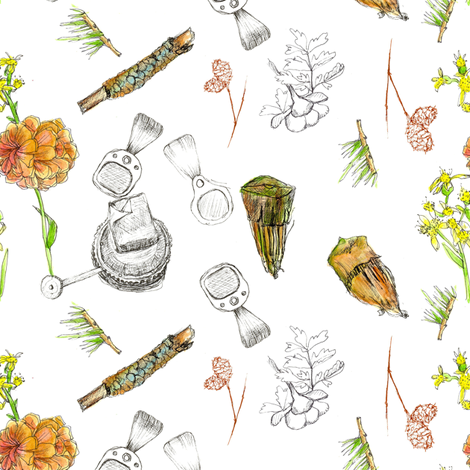 Lake Tahoe Campground Sketches fabric by countrygarden on Spoonflower - custom fabric