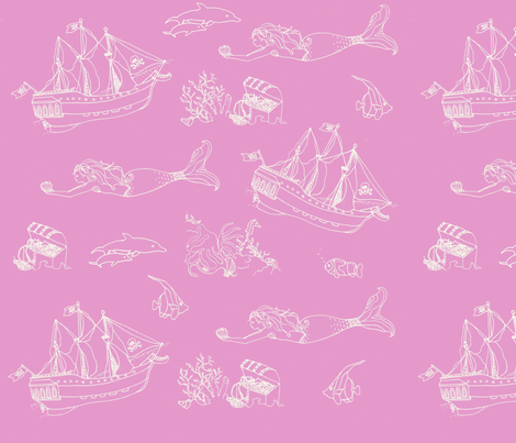 pinkmermaids fabric by vonblohn on Spoonflower - custom fabric