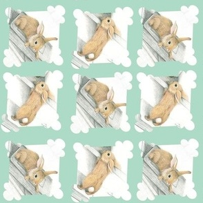 rabbits mint green - small size