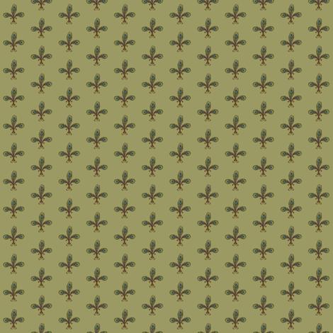 peacock_fleurdelis_2_halfinch_sage fabric by glimmericks on Spoonflower - custom fabric