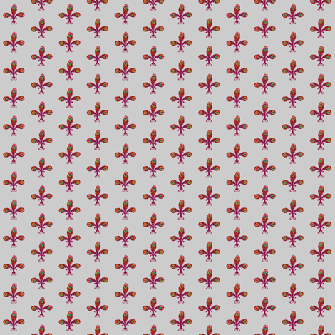 peacock_fleurdelis_2_halfinch_flame_on_gray fabric by glimmericks on Spoonflower - custom fabric