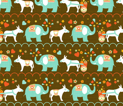 Elephant and donkey parade fabric by cjldesigns on Spoonflower - custom fabric