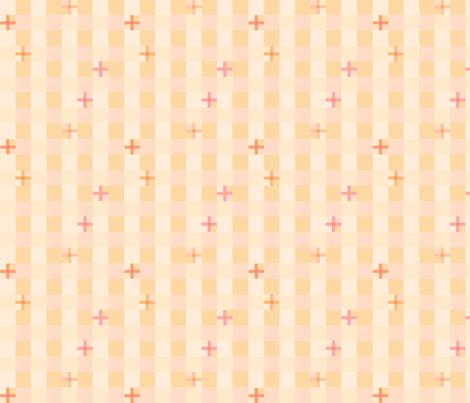 peach checks 4 fabric by mojiarts on Spoonflower - custom fabric
