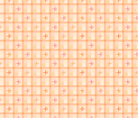 peach checks 5 fabric by mojiarts on Spoonflower - custom fabric