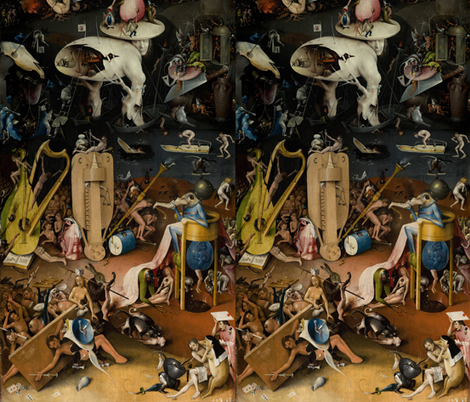 The Garden of Earthly Delights by Hieronymus Bosch - Right Panel fabric by zephyrus_books on Spoonflower - custom fabric