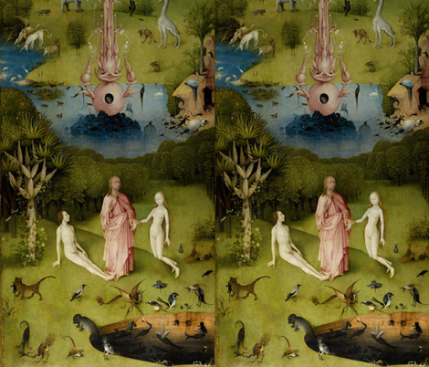 The Garden Of Earthly Delights By Hieronymus Bosch Left Panel Fabric Zephyrus Books