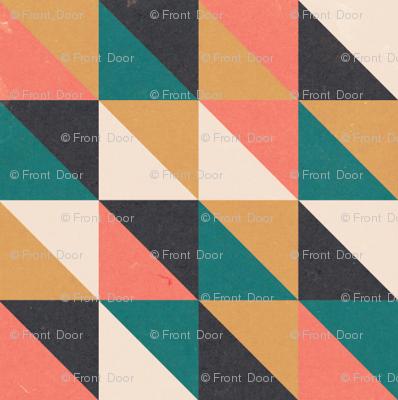 Retro-Mod Triangles: Teal, Coral, Marigold, Cream, Black