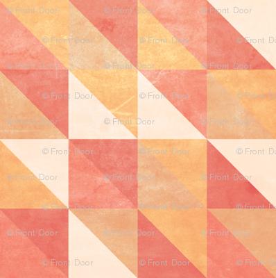 Retro-Mod Triangles: Coral, Cream, Tan, Marigold, Red