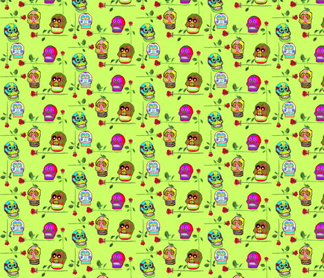 Skulls and Roses fabric by robin_rice on Spoonflower - custom fabric