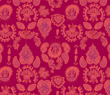 Indian Henna in purple & orange fabric by angie_mac on Spoonflower - custom fabric
