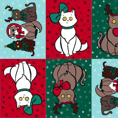 Cats With Hats Christmas 2012 fabric by nikky on Spoonflower - custom fabric