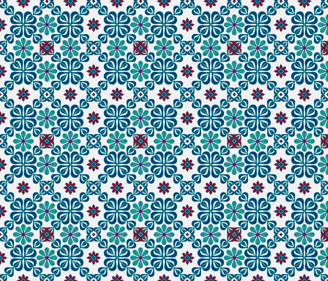 daisy tile too:red, green, and blue fabric by cindi_g on Spoonflower - custom fabric