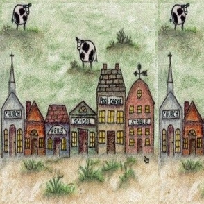 Whimsical Town With Cows