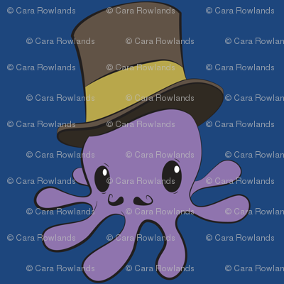 Mr Octopus - blue bg