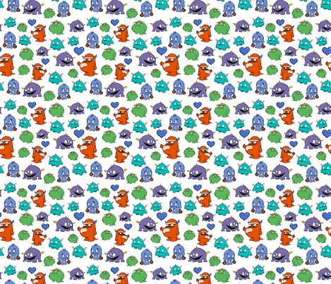 Full colour monsters fabric by crowlands on Spoonflower - custom fabric