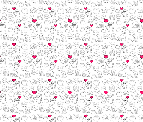 Cute Monsters with pink balloon accents fabric by crowlands on Spoonflower - custom fabric