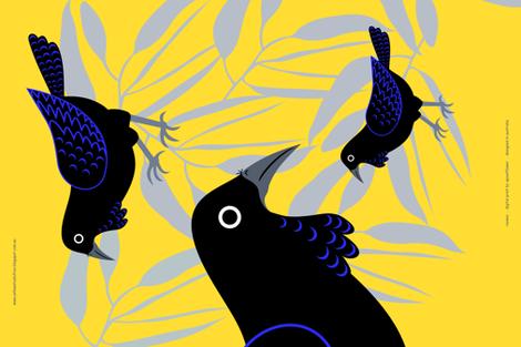 Ravens tea towel fabric by yellowstudio on Spoonflower - custom fabric