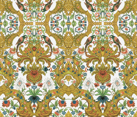 Parrot Damask fabric by peacoquettedesigns on Spoonflower - custom fabric