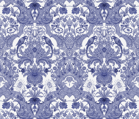 Parrot Damask ~ Blue and White fabric by peacoquettedesigns on Spoonflower - custom fabric