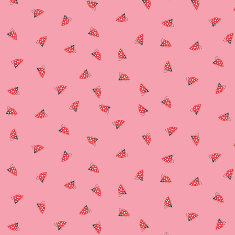 Ladybirds on PINK fabric by halfpinthome on Spoonflower - custom fabric
