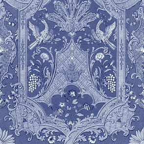 Phoenix Damask ~ Blue & White