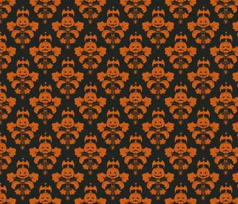 Jack O Lantern Damask Black/Orange fabric by pi-ratical on Spoonflower - custom fabric