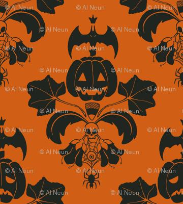 Jack O Lantern Damask Orange/Black