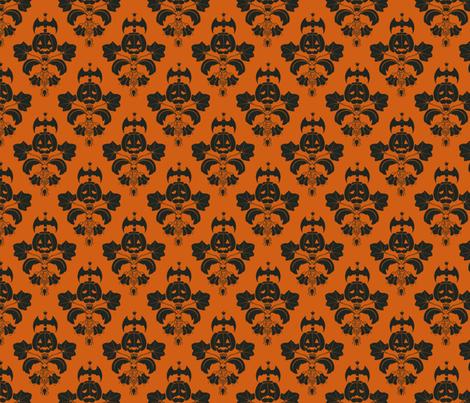 Jack O Lantern Damask Orange/Black fabric by pi-ratical on Spoonflower - custom fabric