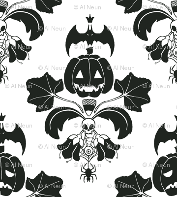 Jack O Lantern Damask White/Black