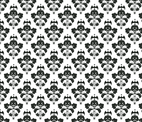 Jack O Lantern Damask White/Black fabric by pi-ratical on Spoonflower - custom fabric