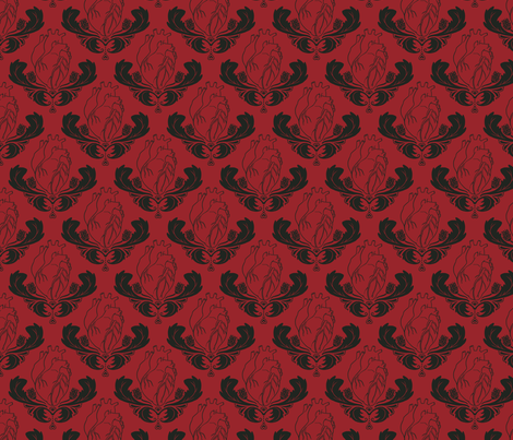 Hearts & Thistles Red/Black fabric by pi-ratical on Spoonflower - custom fabric