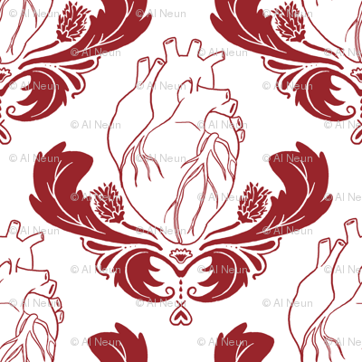 Hearts & Thistles White/Red
