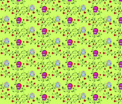 Skulls and Longstemmed Roses  fabric by robin_rice on Spoonflower - custom fabric