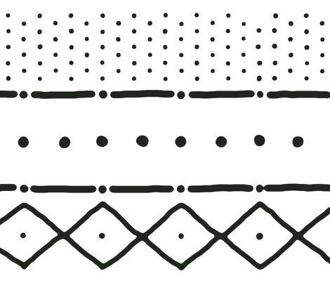 Mudcloth II in black on white fabric by domesticate on Spoonflower - custom fabric