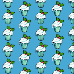 Christmas Holly Cupcake on Blue