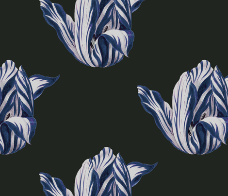 midnight Tulips in navy fabric by domesticate on Spoonflower - custom fabric