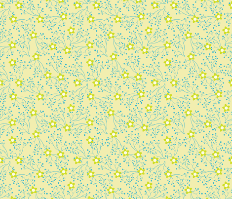 Blue Green Flower fabric by donnamarie on Spoonflower - custom fabric