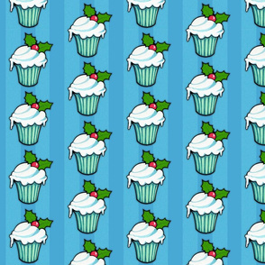 Christmas Holly Cupcake on Blue Stripes