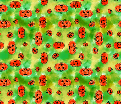 Halloween Pumpkin Faces fabric by trgatesart on Spoonflower - custom fabric