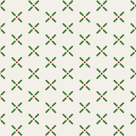 Cross_Dots___-green_and_red_on_offwhite fabric by fireflower on Spoonflower - custom fabric